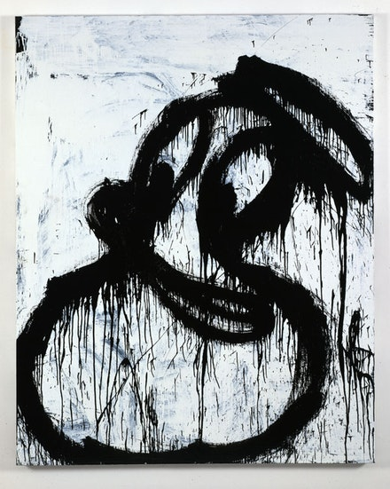 "Joyce Pensato, ""Donald 2009,"" 2009. Enamel on linen. 90 x 72"". Courtesy of the artist and Petzel, New York."