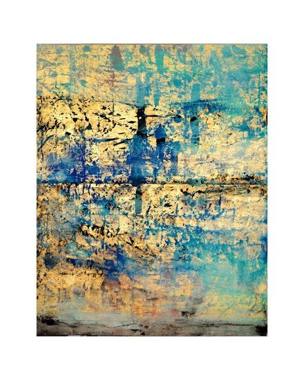 "Makoto Fujimura, ""Golden Sea,"" 2011. Mineral Pigments and Gold on Kumohada, 80 x 64"". Courtesy of Dillon Gallery."