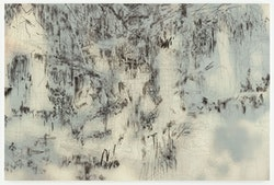 """Julie Mehretu, """"Chimera,"""" 2013. Ink and acrylic on canvas, 96 x 144"""". Courtesy of the artist and Marian Goodman Gallery, New York. Photo: Tom Powel Imaging."""