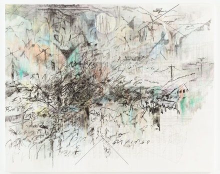 "Julie Mehretu, ""Fever graph (algorithm for serendipity),"" 2013. Graphite, ink and acrylic on canvas. 96 x 120"". Courtesy of the artist and Marian Goodman Gallery, New York. Photo: Tom Powel Imaging."