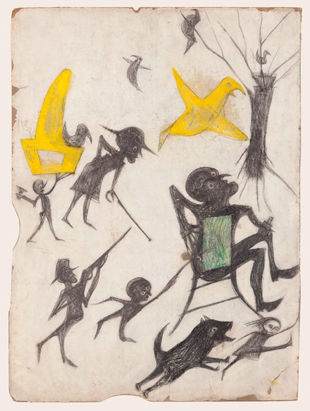 "Bill Traylor, ""Untitled (Exciting Event: Man on Chair, Man with Rifle, Dog Chasing Girl, Yellow Bird, and Other Figures),"" 1939 – 1942, Montgomery. Poster paint, pencil, colored pencil, and charcoal on cardboard, 15 1/2 x 11 1/2"