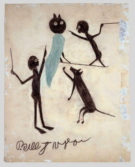"Bill Traylor, ""Untitled (Two Men, Dog, and Owl),"" 1939–1942, Montgomery. Colored pencil and charcoal on cardboard 13 3/4 x 10 7/8"