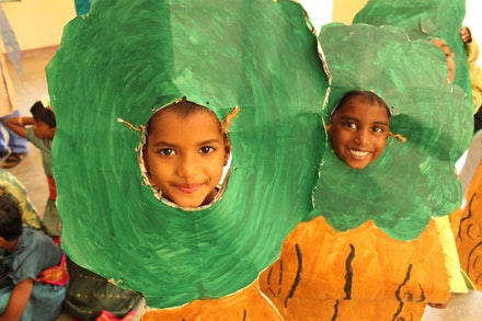 ASTEP students in costume during a school performance (ASTEP at Shanti Bhavan Children's Project in India).