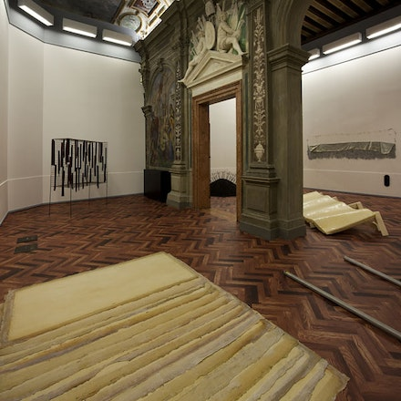 Installation view of <i>When Attitudes Become Form: Bern 1969/Venice 2013</i>. From left to right: works by Eva Hesse, Reiner Ruthenbeck, Gary B. Kuehn, Keith Sonnier, Bill Bollinger. Fondazione Prada, Ca&#146; Corner della Regina, Venice, 1 June &#150; 3 November 2013. Photo: Attilio Maranzano. Courtesy: Fondazione Prada .