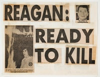 "Keith Haring, ""Reagan Ready to Kill,"" 1980. Collage de coupures de journaux et ruban adhésif sur papier 21.6 x 27.9 cm. Collection Keith Haring Foundation."