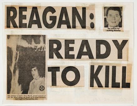 "Keith Haring, ""Reagan Ready to Kill,"" 1980. Collage de coupures de journaux et ruban adhésif sur papier 21.6 x 27.9 cm. Collection Keith Haring Foundation."