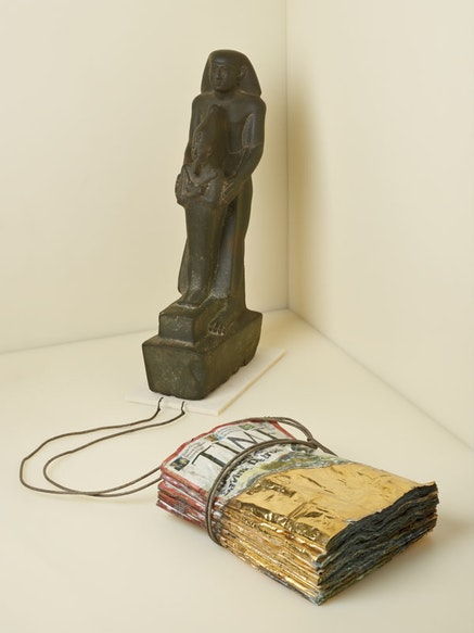 """""""Official Offering a Votive Figure of Osiris,"""" Egypt, 26th dynasty, ca. 640–600 B.C. Matthew Barney, """"Djed: The Case for Saving Detroit,"""" 2010. Photo: Graham S. Haber. Courtesy of Gladstone Gallery."""