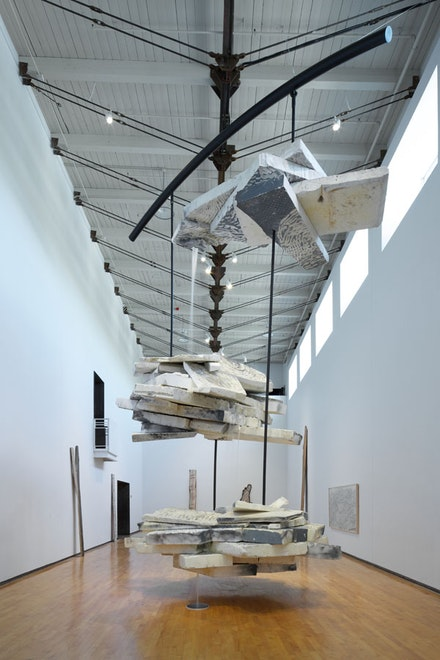"Jason Middlebrook, ""Falling Water,"" 2012-2013. Styrofoam, steel, water, PVC pipe, plastic, pump, water tank, rubber, chicken wire, insulation, paint. Approx. 30 feet high. Photo credit: Karen Pearson. Courtesy the artist and DODGE gallery, New York."