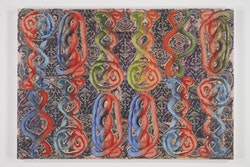 """Philip Taaffe, """"Sardica II,"""" 2013. Mixed media on canvas 55 1/2 X 80"""". Courtesy of the artist and Luhring Augustine, New York."""
