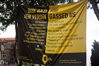 "<p>A Gezi Park protest banner addressing Erdogan: ""You gassed us."" Courtesy Gregg Carlstrom.</p>"