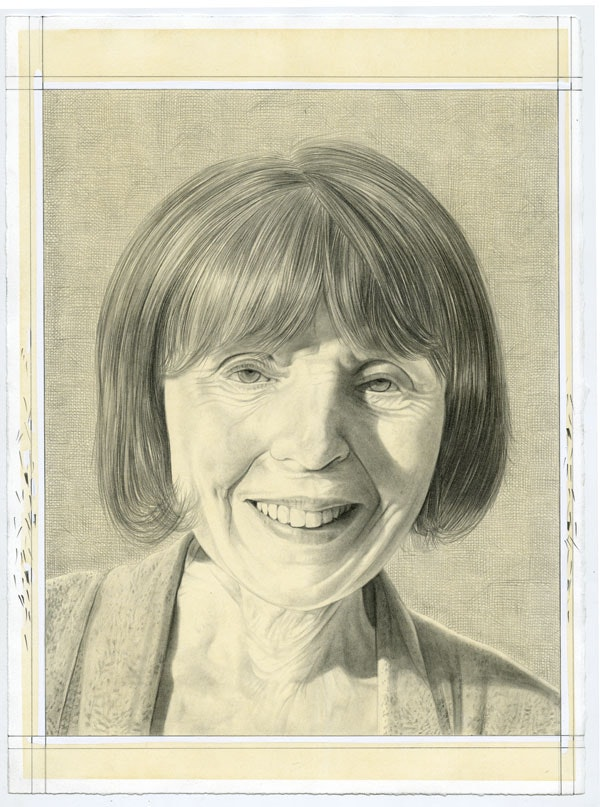 Portrait of Constance Lewallen. Pencil on paper by Phong Bui.