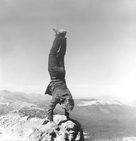 "Robert Kinmont, ""8 Natural Handstands,"" 1969/2009 (detail). Nine black-and-white photographs; courtesy of Alexander and Bonin, New York. Photo: Bill Orcutt."