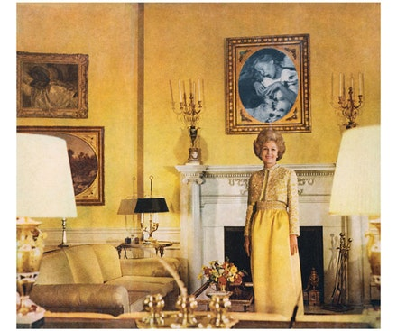 "Martha Rosler, ""First Lady (Pat Nixon),� 1972. From the series Bringing the War Home: House Beautiful, 1967–72; photomontage; 20 × 24�. Courtesy of the artist, Brooklyn, New York, and Mitchell-Innes and Nash Gallery, New York."