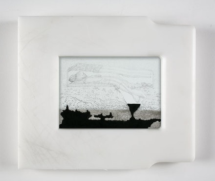 """Matthew Barney, """"The Cabinet of General Douglas MacArthur,"""" 2006. Graphite and ink on paper in self-lubricating plastic frame, 11 1/2 x 13 1/2 x 1 1/4"""". Photo: David Regen. Copyright Matthew Barney. Courtesy Gladstone Gallery, New York and Brussels."""