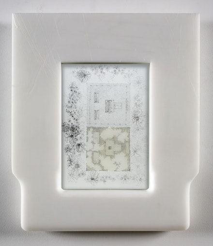 "Matthew Barney, ""Ise Shrine,"" 2006. Graphite and petroleum jelly on paper in self-lubricating plastic frame, 13 1/2 x 11 1/2 x 1 1/2"". Photo: David Regen. Copyright Matthew Barney. Courtesy Gladstone Gallery, New York and Brussels."