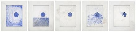 "Matthew Barney, ""REN: Pentastar Suite,"" 2008. Graphite and lapis lazuli on paper in five polyethylene frames, 14 1/4 x 11 3/4 x 1 1/4""/ea. Photo: David Regen. Copyright Matthew Barney. Courtesy Gladstone Gallery, New York and Brussels."