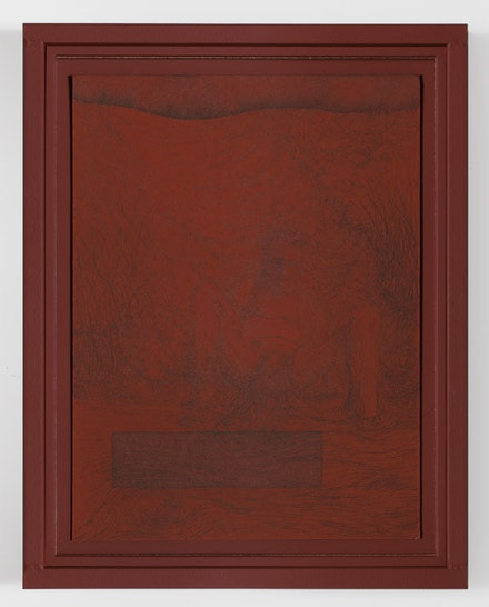 """Matthew Barney, """"RIVER ROUGE: Tamarisk Root,"""" 2011. Ink on paper in painted steel frame, 14 3/8 x 11 1/4 x 1 1/8"""". Photo: David Regen. Copyright Matthew Barney. Courtesy Gladstone Gallery, New York and Brussels"""