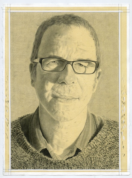 Portrait of Raphael Rubinstein. Pencil on paper by Phong Bui.