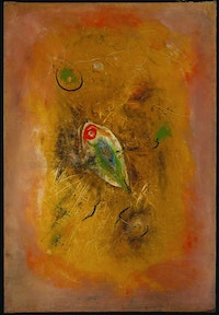 """Wolfgang Schulze Wols, """"Fish,"""" 1949. Oil on canvas, 28 3/4 x 19 5/8"""". Photo: Paul Hester. Courtesy the Menil Collection, Houston."""