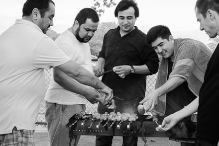 These Uzbeki pals are having a men-only BBQ, leaving their wives at home.