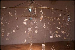 <p>Dan Devine, &quot;Cascading Deterioration,&quot; 2002, Crystals, metal, surveillance cameras, monitors, electronics, 10&#146; in diameter. Courtesy the artist and Pierogi. </p>
