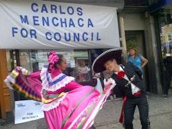 Ballet Folklorico de Quetzalcoatl at Carlos Menchaca's June campaign launch. Photo by T. Hamm.