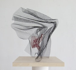 """Peter Barton, """"Velocet #2,"""" 2013. Wire cloth and acrylic enamel, 24 x 20""""."""