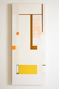 """lit before noon,"" 2009–12. Oil, pewter, and florescent pigment on honeycomb aluminum panel, 39 1/4 "" x 16 1/4""."