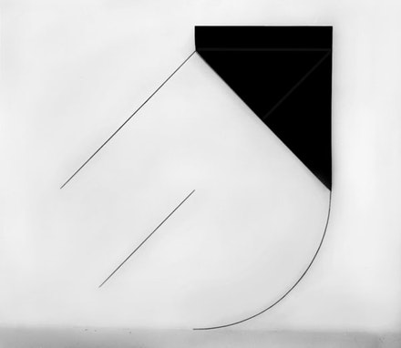 """Dorothea Rockburne, """"Installation Piece: Arc."""" Carbon Paper, Graphite on Wall, 70 x 60"""" (Dimensions Variable)."""