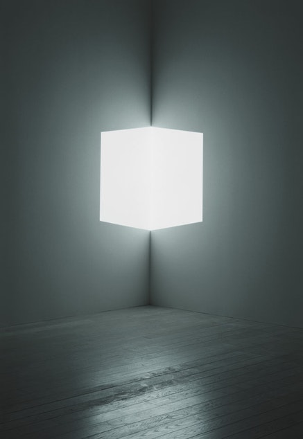 """James Turrell, """"Afrum (White),"""" 1966. Cross Corner Projection. Lost Angeles County Museum of Art, partial gift of Marc and Andrea Glimcher in honor of the appointment of Michael Govan as Chief Executive Officer and Wallis Annenberg Director and purchased with funds provided by David Bohnett and Tom Gregory through the 2008 Collectors Committee, M.2008.60. © James Turrell, photo © Florian Holzherr."""