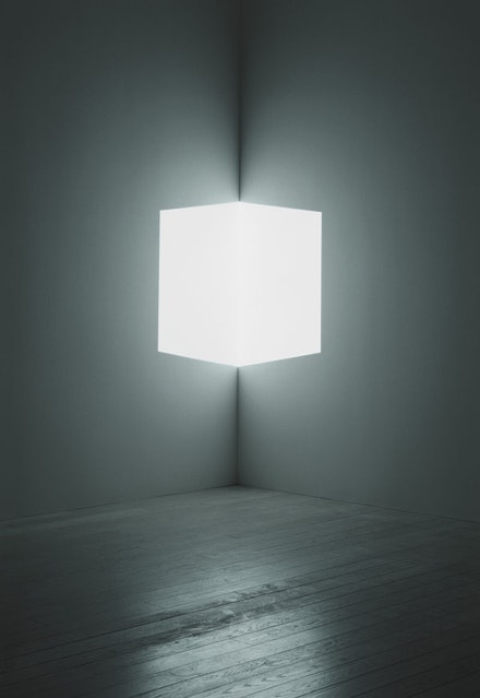 "James Turrell, ""Afrum (White),"" 1966. Cross Corner Projection. Lost Angeles County Museum of Art, partial gift of Marc and Andrea Glimcher in honor of the appointment of Michael Govan as Chief Executive Officer and Wallis Annenberg Director and purchased with funds provided by David Bohnett and Tom Gregory through the 2008 Collectors Committee, M.2008.60. © James Turrell, photo © Florian Holzherr."