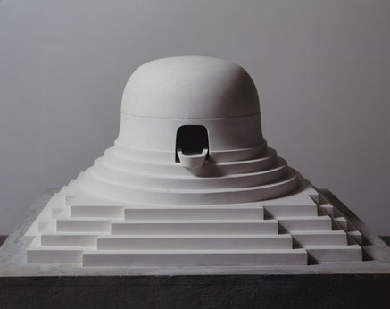 """James Turrell, """"Milarepa's Helmut,"""" 1989. Cast Hydrocal plaster, 21 x 34 3/4 x 34 3/4 inches. James Corcoran Gallery, Los Angeles. © James Turrell. Photo courtesy Kayne Griffin Corcoran, Los Angeles."""