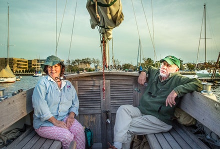"Jay and Kathleen, members of the Miramar yacht club in Sheepshead Bay, spend afternoons sailing their boat, Topaz. Each of the yacht clubs on Emmons Avenue has its own traditions, but all invite fresh ""rail meat"" to learn how to sail from a seasoned skipper."
