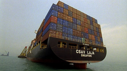 The Forgotten Space, 2010. 112 min., color. Sound, co-directed by Noël Burch and Allan Sekula, produced by DocEye Film, Amsterdam and WildArt Film, Vienna (film production still) © 2010 Allan Sekula and Noël Burch. Courtesy of the artist and Christopher Grimes Gallery, Santa Monica.