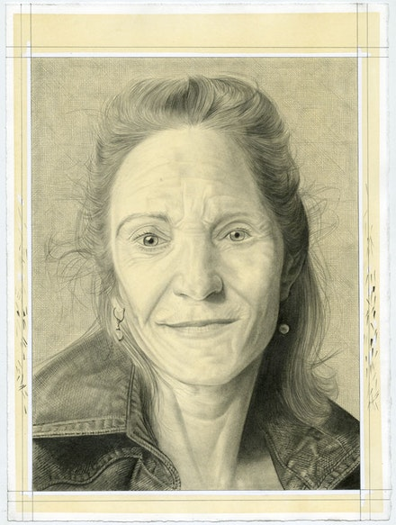 Portrait of Thyrza Nichols Goodeve. Pencil on paper by Phong Bui.
