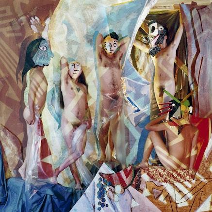 """Bachelors of Avignon,"" 2011. Silkscreen, acryllic paint on canvas. Image courtesy the Brooklyn Museum."