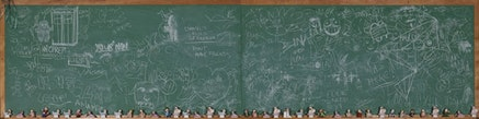"""""""Public Education (Eddie Needs Help),"""" 2011. Chalk board and plastic figures. Image courtesy the Brooklyn Museum."""