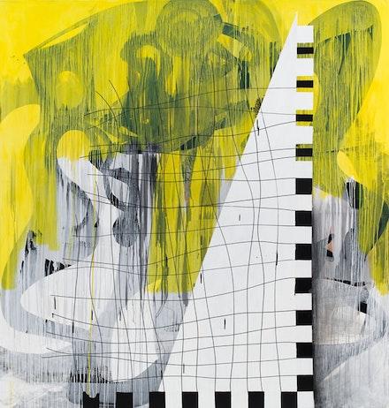 """Charline von Heyl, """"Guitar Gangster,"""" 2013. Acrylic on canvas, 86.5 x 82.25"""". CvH 13/014."""