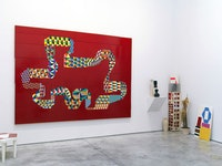 """Barry McGee, UNTITLED 2013. Acrylic on wood panel; 72 elements, 86 1/2 x 120"""". CR# MY.32574."""