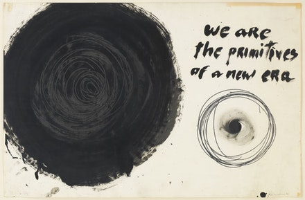 "Aldo Tambellini, ""We Are the Primitives of a New Era, from the Manifesto Series,"" 1961. Duco, acrylic, and pencil on paper. 25 x 30"". Photographer: Christopher Burke. © The Artist / Courtesy James Cohan Gallery, New York/Shanghai."