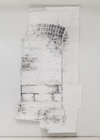"Sonya Blesofsky, ""Renovation: Brick Window,"" 2013. Graphite, house paint, tape on paper and wall 128 x 60 x 3"". Image courtesy of the artist and Mixed Greens Photo: Etienne Frossard."