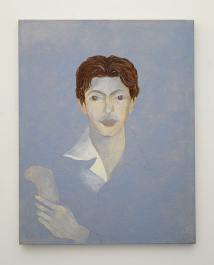 "Ellen Lanyon. ""Portrait of Julian Pretto,"" circa 1987-1989. Acrylic on canvas. 33x26"". Courtesy MINUS SPACE."