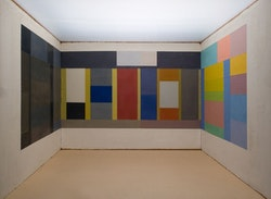 "David Novros, ""Room"", 1975. One of three rooms, each 10 ́ × 20 ́, oil on canvas, Collection Menil Foundation, Houston, Texas."