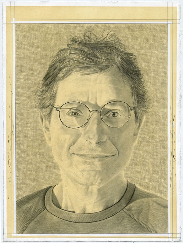 Portrait of Jeffrey Deitch. Pencil on paper by Phong Bui.