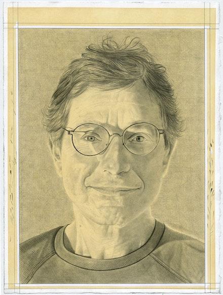 Portrait of Jeffrey Deitch. Pencil on paper by Phong Bui.