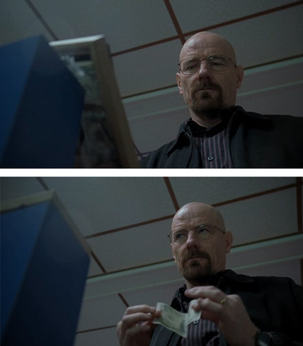 Walter smashes Bogdan's framed first dollar so he can buy himself an ice cold Coke.