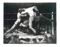 "George Bellows, ""A Stag at Sharkeys"" (1917). Lithograph. 18 ¾"" x 23 3/4""."