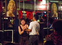 Boundaries are crossed when one bartender's night off frees her up to dance with the regulars.