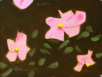 "Alex Katz, ""Wild Roses [study]"" Oil on board. Courtesy the artist and Peter Blum Gallery, New York."