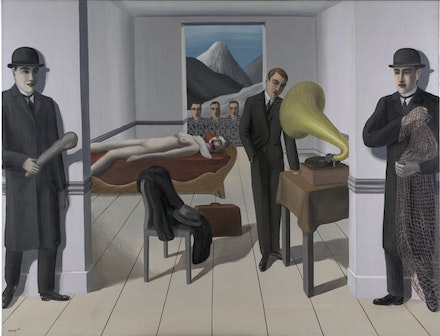 """René Magritte """"L'assassin menacé (The Menaced Assassin)."""" 1927. Oil on canvas. 59 1/4 x 64 7/8 ̋. Museum of Modern Art. Kay Sage Tanguy Fund. © Charly Herscovici."""